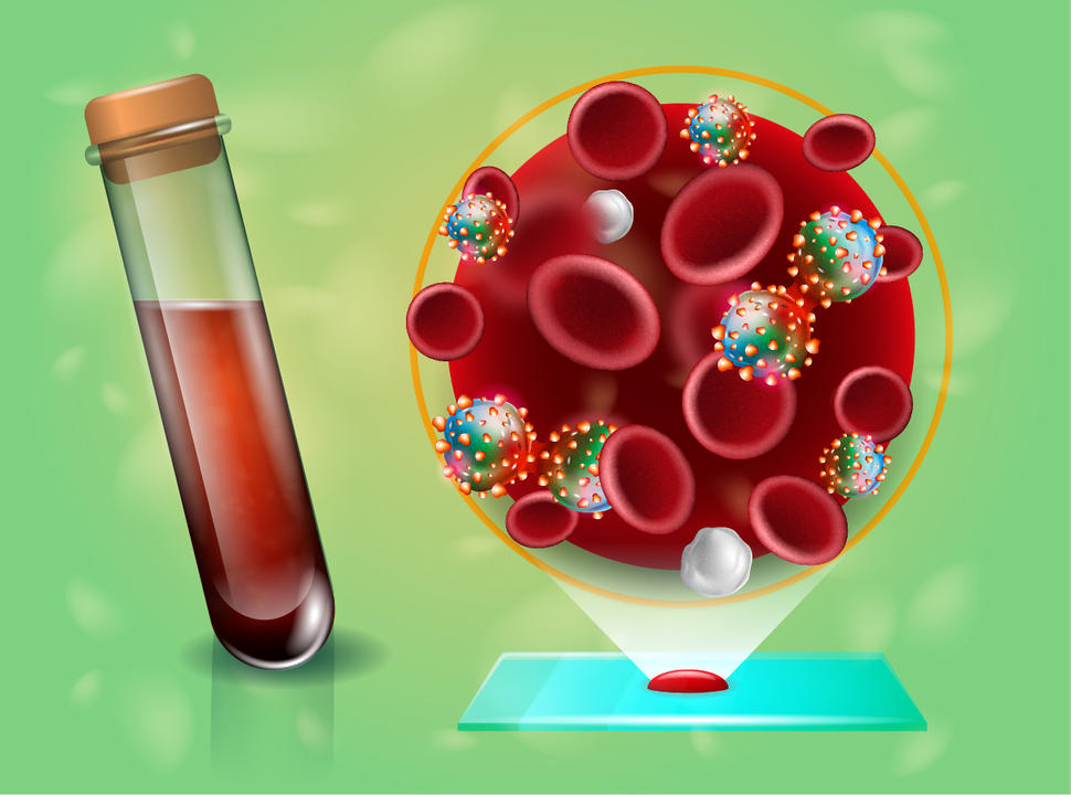 An illustration of a tube of blood and a cancer cell.