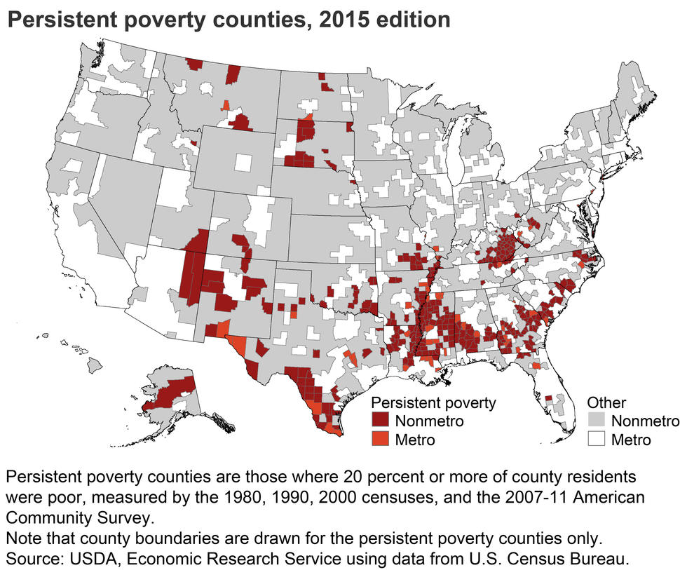 Persistent Poverty Counties, 2015 Edition Map