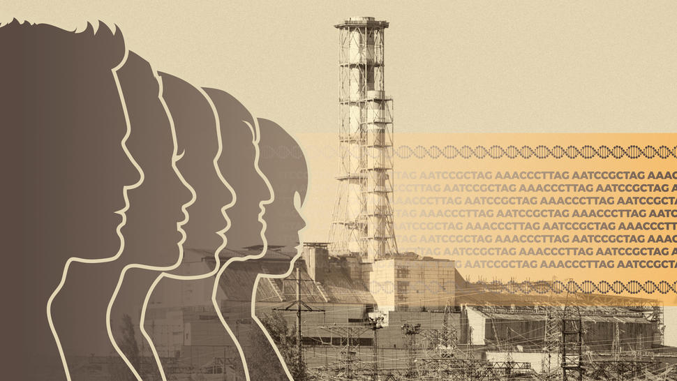 Silhouettes of adults and children and DNA code over a photo of the Chernobyl nuclear power plant.