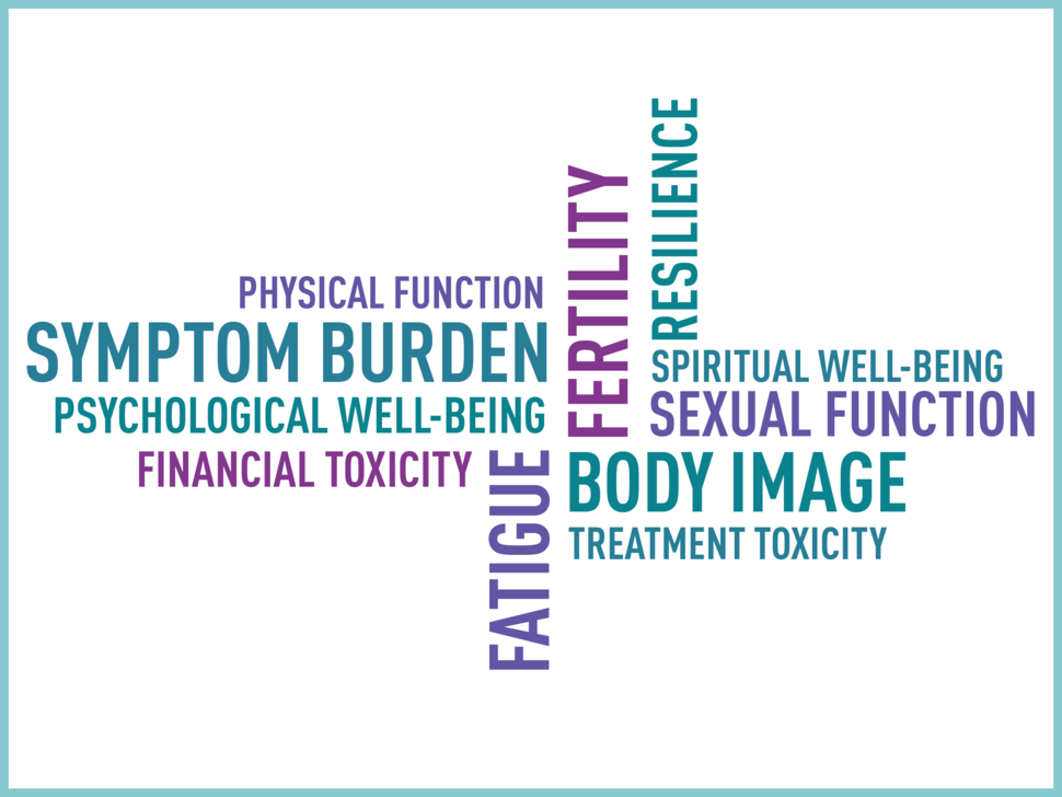 Word Cloud about article. Symptom burden, psychological well-being, financial toxicity, fatique, treatment toxicity, body image, sexual function, spiritual well-being, resilience, fertility, physical function